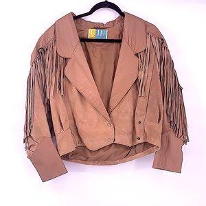 Vintage leather tan jacket western fringe medium